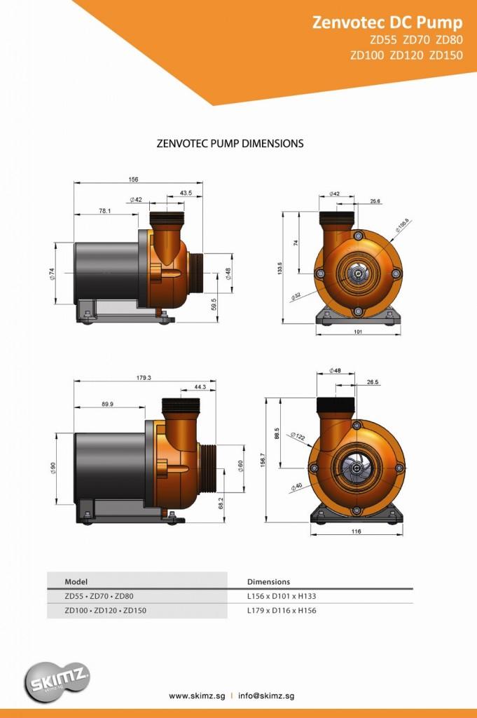Skimz Zenvotec Pump Dimensions