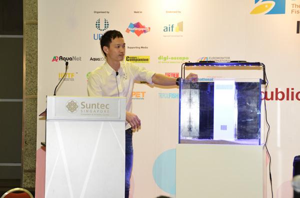 Skimz Protein Skimmer at Aquarama 2015. Aquarium Systems, Dupla, Sanrise.